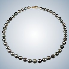 Tahitian Black Pearl Necklace 14k Gold Cultured South Sea Pearl Strand