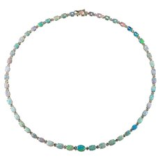 Natural Opal Diamond Tennis Necklace 14k Gold Australian Tennis Necklace