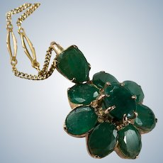 Italian Emerald Necklace 6ctw 14k Gold Natural Emerald Flower Pendant Fancy Station Chain