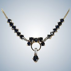 Sapphire Diamond Necklace 14k Gold Emerald Cut Diamond Sapphire Lavalier Necklace