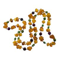"Opera Length 40"" Amber Necklace 14k Gold Natural Egg Yolk Butterscotch Baltic Amber Turquoise Sugalite Necklace"