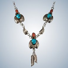 Native American Turquoise Coral Feather Necklace 925 Sterling Silver Signed Paper Clip Chain