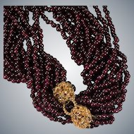 "Double Lion Head Ruby Garnet Necklace 35"" 6 Strand 14k Gold Natural Garnet Bead Necklace"