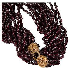 "Double Lion Head Ruby Garnet Necklace 35"" 6 Strand 14k Gold Natural Garnet Bead Necklace"