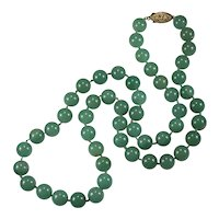 "Green Jade Necklace Genuine Stone Beaded Strand 24"" 10mm 14k/120 Gold Filled Clasp"