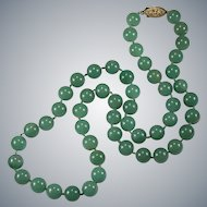 """Green Jade Necklace Genuine Stone Beaded Strand 24"""" 10mm 14k/120 Gold Filled Clasp"""