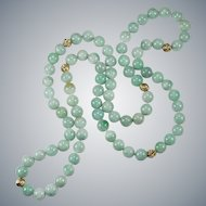 "Natural Jade Necklace 14k Gold Beaded Strand 26"" 8.0mm"