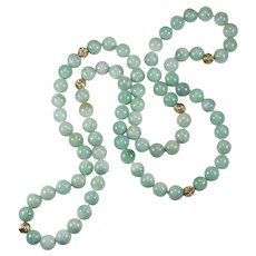 "Natural Jadite Jade Necklace 14k Gold Beaded Strand 26"" 8.0mm"