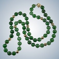"Hong Kong Imperial Jade Necklace 28"" 10mm 14k Gold Beaded Strand Natural Jade Necklace"