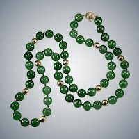"Imperial Jade Bead Strand Necklace 14k 28"" 10mm Hong Kong Jade Necklace"