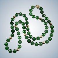 "Imperial Jade Bead Strand Necklace 14k 28"" 10mm Hong Kong Jade Necklace"