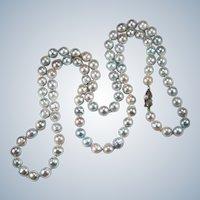 Silver Peacock Baroque Pearl Strand Genuine Cultured Pearl Necklace