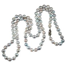 Silver Peacock Baroque Pearl Strand Genuine Cultured Pearl Necklace