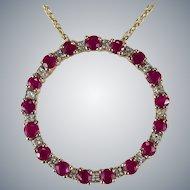 Genuine Ruby Diamond Circle Pendant 14k Gold Mixed Gemstone Eternity Pendant Necklace