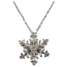 Diamond Snowflake Pendant .89ctw 10k 14k White Gold Chain Necklace