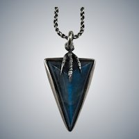 Natural Carved Labradorite Claw Arrow Head Necklace 925 Sterling Silver Vintage Pendant Chain