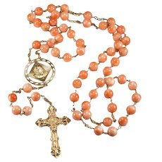 "Natural Angel Skin Coral 14k Gold 37"" Rosary"