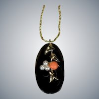 Natural Coral Pearl 14k Gold Necklace Black Coral Salmon Coral Seed Pearl Pendant Chain