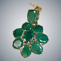 Italian Emerald Necklace 6ctw 14k Gold Natural Emerald Flower Pendant Station Chain