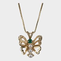 Genuine Emerald Seed Pearl Butterfly Pendant Italian 14k Gold Box Chain Necklace