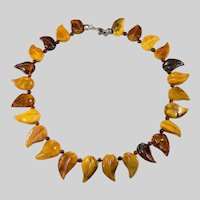 Russian Carved Amber Necklace Baltic Egg Yolk Butterscotch Cherry Amber Leaves Sterling Necklace