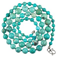 """Vintage Mixed Turquoise Bead Necklace 925 29"""" Turquoise Strand"""