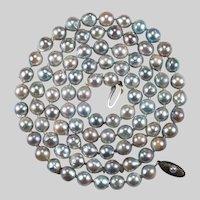 "Silver Peacock Baroque Pearl 31"" Strand Genuine Pearl Necklace"