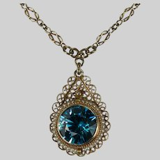 Antique 6.50ctw Natural Blue Zircon Pearl Lavaliere Necklace 14k Gold Love Knot Infinity Chain