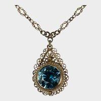 Antique Blue Zircon Pearl Lavalier Necklace 6.50ctw 14k Gold Pendant Infinity Knot Chain