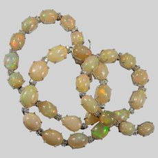 Natural Fire Opal Tennis 69.70ctw 18k Gold Opal Diamond Necklace