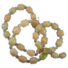 Natural Fire Opal Tennis 69.70ctw 18k Gold Opal Diamond Necklace