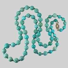 """Vintage Chinese Carved Turquoise Shou Bead Necklace 14K Gold 25.5"""""""
