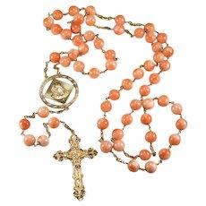 """Natural Angel Skin Coral 14k Gold 37"""" Rosary"""