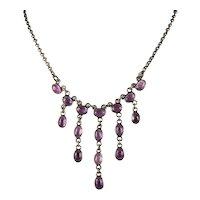 Natural Amethyst Festoon Necklace 925 Sterling Silver Bezel Set Gemstone Chain