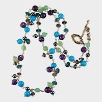 Turquoise Jade Amethyst Topaz Quartz Pearl 14k Gold Mixed Gemstone Chain