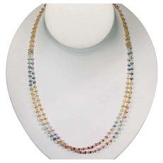 Rainbow Sapphire Necklace 30ctw 18k Gold Genuine Sapphire By The Yard Gemstone Chain