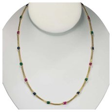 Ruby Emerald Sapphire Necklace 18k Gold Bezel Set Mixed Gemstone By The Yard Chain