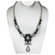 Vintage Black Star Diopside Moonstone Runway Necklace 270ctw 925 Sterling Adjustable Chain 98g