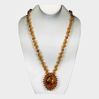 Vintage Russian Natural Baltic Amber Necklace Hand Crafted