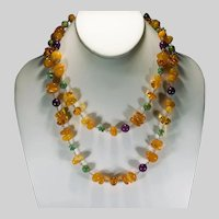 "Opera Length 40"" 10k Baltic Egg Yolk Butterscotch Amber Turquoise Sugalite Necklace"