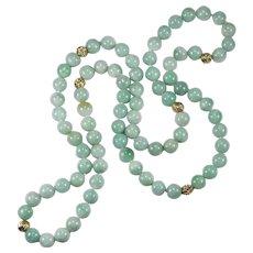 "Natural Jadite Jade Necklace 14k Gold Beaded Strand 26"" 8.0mm"