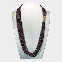 "Double Lion Head Ruby Garnet Necklace 14k Gold 35"" Opera Length 6 Strand"