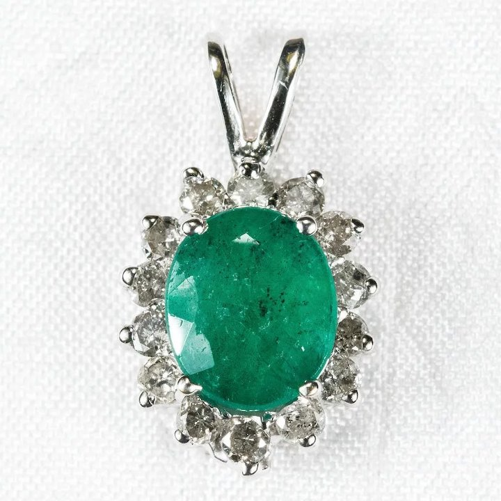 natural pendant diamond rose solid for cut new gold jewelry arrival emerald necklace product gemstone women