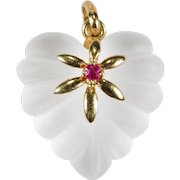 Rare Puffy Heart Frosted Quartz Rock Crystal Ruby 14k Gold Carved Scallop Pendant