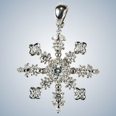Diamond Snowflake Pendant 14k Gold Natural Diamond Pendant