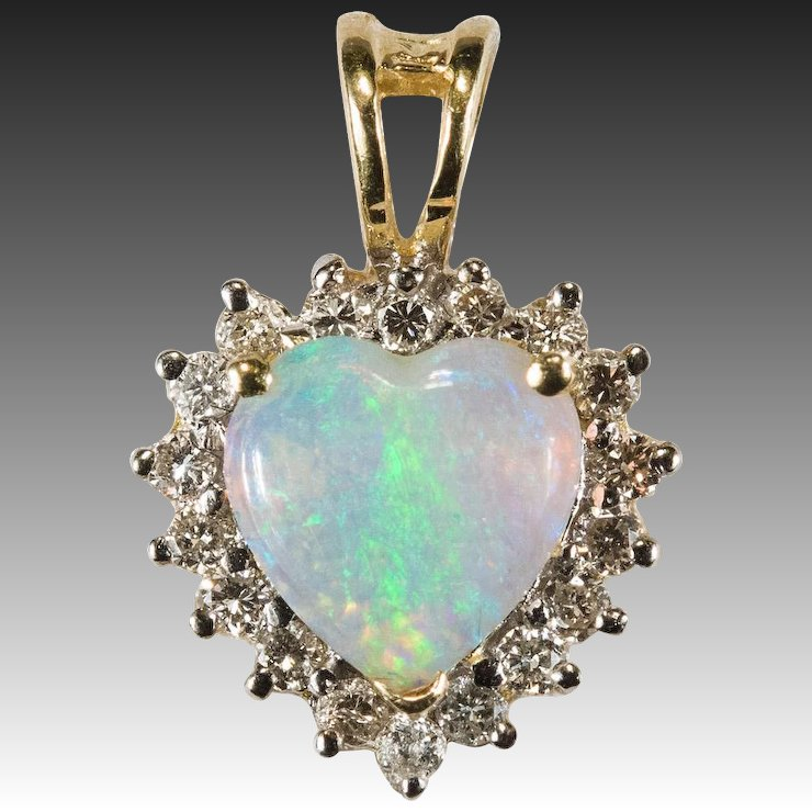 Natural opal heart diamond halo pendant 14k gold diamond opal natural opal heart diamond halo pendant 14k gold diamond opal pendant heart opal aloadofball Images