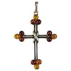Mixed Baltic Amber 925 Sterling Silver Poland Amber Cross