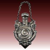 Antique Double Griffin Perfume Bottle Pendant Sterling Silver Repousse Griffin Pendant
