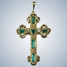 Emerald Diamond Cross 18k Gold Columbian Emerald Pendant Emerald Cross