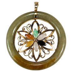 Mixed Color Jade Disc Pendant 14k Gold Hand Crafted Flower Jade Pendant